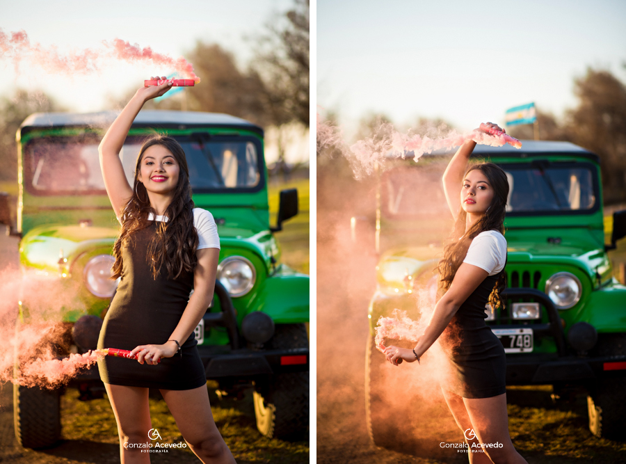 Book de 15 en un jeep con bengalas de humo #gonzaloacevedofotografia